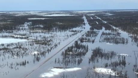 Flooded Churchill rail line
