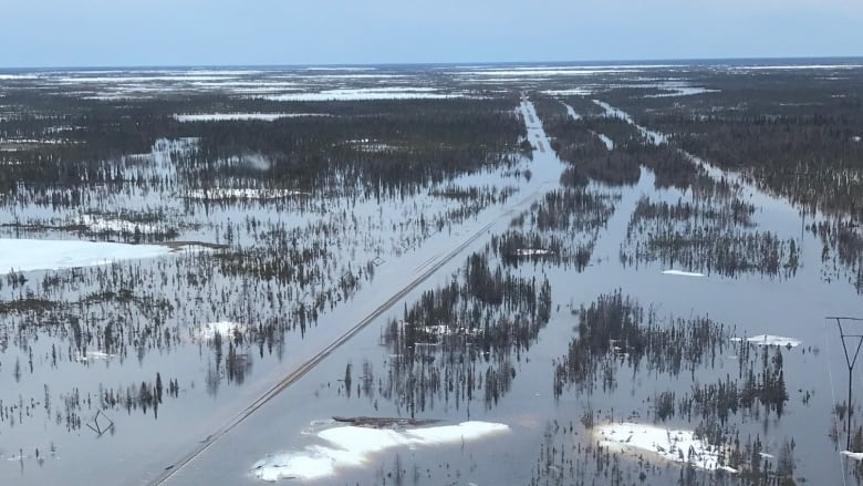 Flooded Churchill rail line