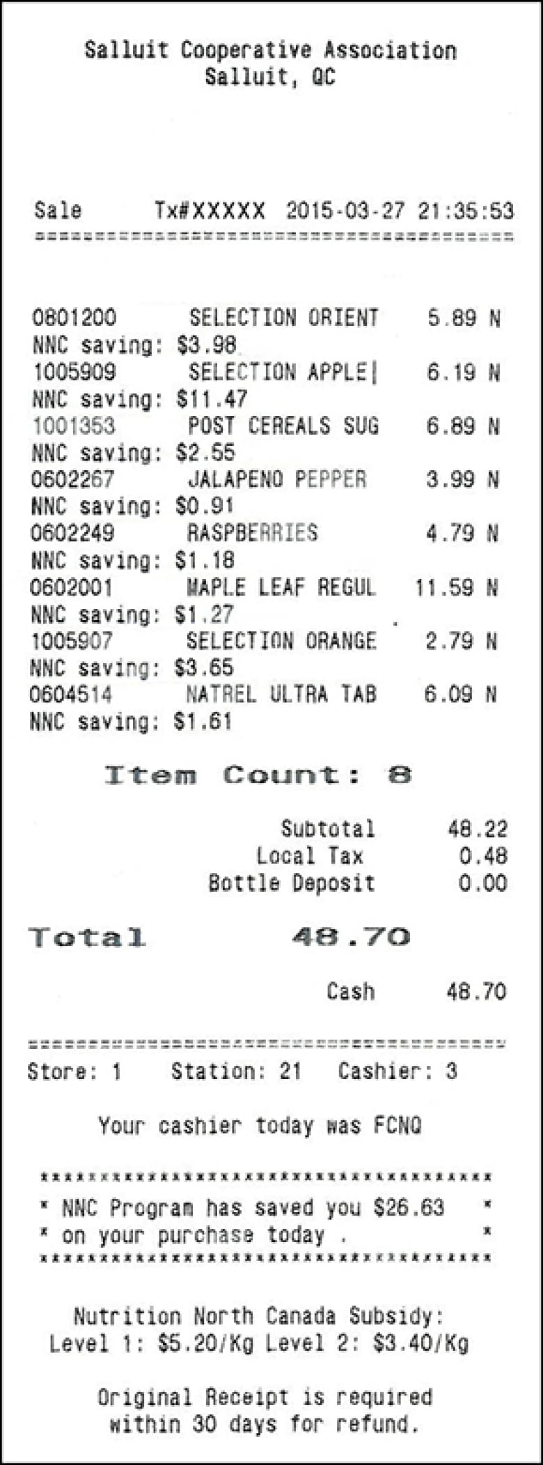 a sample receipt that shows the effect the federal