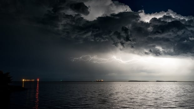 Amateur storm watchers across Ontario are trained to alert Environment Canada know when they see thunderstorms developing, such as this one over the Sleeping Giant on Lake Superior in northwestern Ontario.