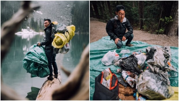 Two B.C. photographers stumbled upon other people's trash and decided to carry it out themselves. They took a photo of this load of garbage at the same iconic spot where many pose for photographs.