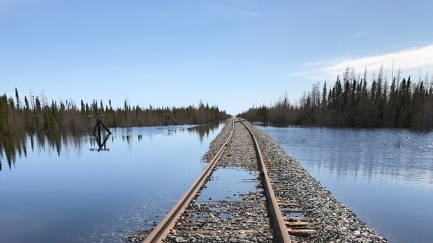 This section of the Hudson Bay Railway is just one of 24 areas between Gillam and Churchill that are impassable after flooding.  While building a highway to the northern Manitoba town poses challenges, engineer Marolo Alfaro thinks it's possible.