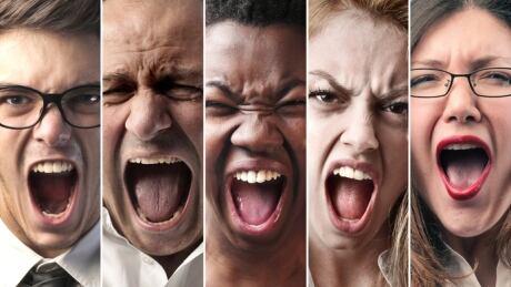 Screaming people