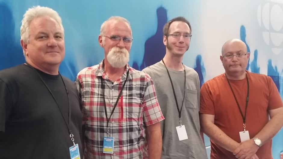 (L-R): Richard Hovey, Shane Conway, James Tellier, Eugene Feig, four men who are part of a men-only support group pilot project.