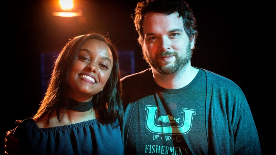 Ruth B. and Tom Power in the q studio.