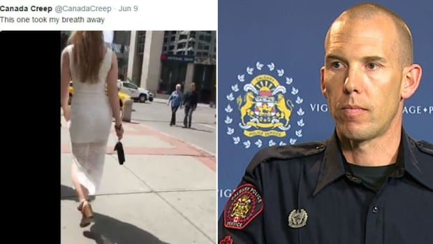 Staff Sgt. Cory Dayley, right, speaks to reporters about the arrest of a suspect in the 'CanadaCreep' Twitter case. At left, Alexandra Constantinidis is seen in one of the many videos posted on the Twitter account. She agreed to have this screenshot of the video published as part of this story.