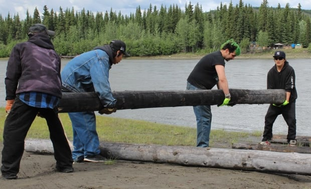 Pelly Crossing River Raft beginning construction