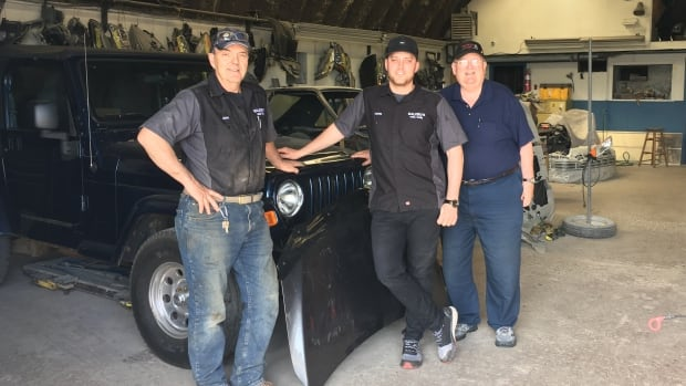 Rust and dents and scrapes and fender-benders is their business at Dalziel's Autobody, or so the jingle goes. John Dalziel (left) and his son Chris (centre) are in the process of buying out the shop's founder, Bill Dalziel (right).