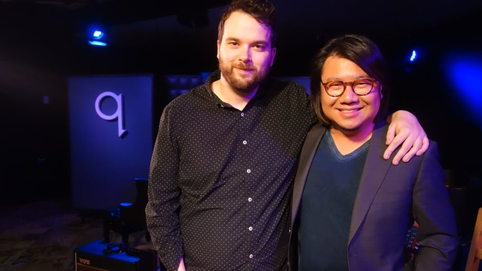 Kevin Kwan and Tom Power in the q studio.