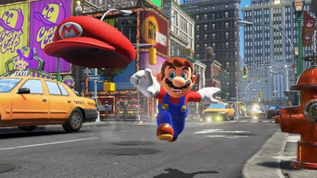 Mario visits many worlds unlike the Mushroom Kingdom — including New Donk City, populated by normal-looking humans — in Super Mario Odyssey.