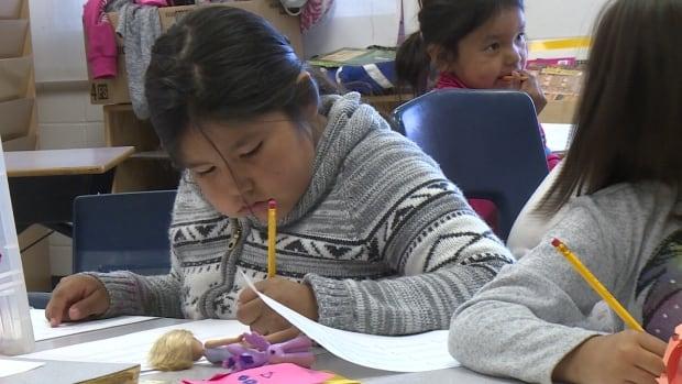 A student at Mushuau Innu Natuashish School works on a math sheet.
