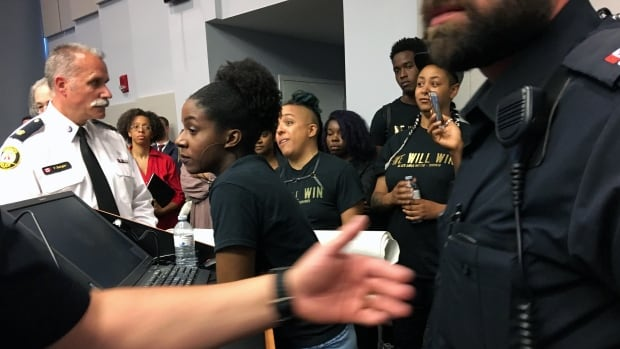 Dozens of representatives from Black Lives Matter Toronto attended the police services board meeting this week to condemn a program that puts uniformed officers in schools, but the group didn't get the result it was hoping for.