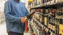 Alcohol shelves supermarket