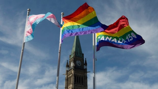 The pride and transgender flags fly on Parliament Hill following a ceremony with Prime Minister Justin Trudeau in Ottawa. The Senate voted overwhelmingly in favour of Liberal government legislation that enacts federal protections for transgender Canadians.