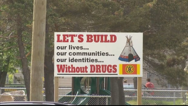 A sign in the Natoaganeg First Nation in eastern New Brunswick.