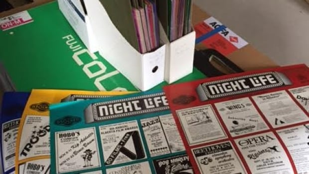 Older versions of the Nightlife posters found in Denise Assaly's home. The marketing company has been running for 38 years.