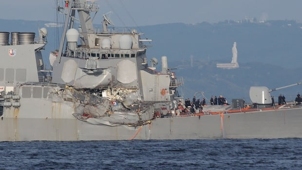This photo shows the damage to the USS Fitzgerald after it collided with the Philippine-registered container ship ACX Crystal in the waters off Japan's Izu Peninsula.