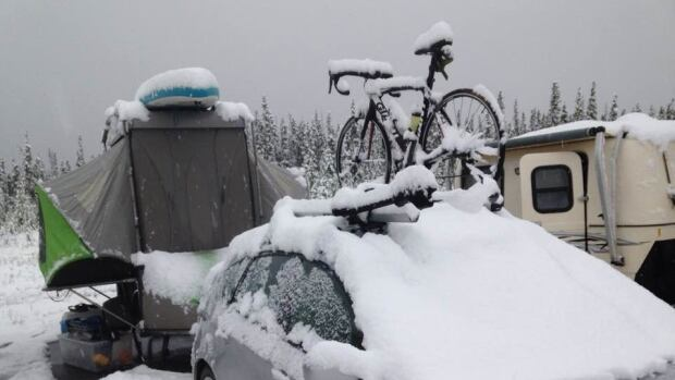 Snow in Haines Junction, Yukon, has cancelled the 25th-annual Kluane Chilkat International Bike Relay.