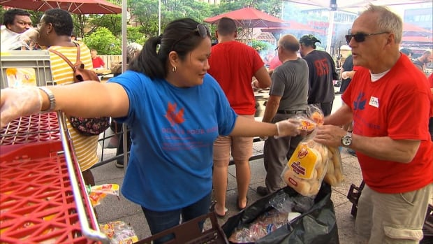 Anne Las helped coordinate the free BBQ in the park for homeless people Saturday, June 17.