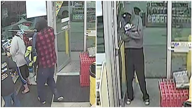 RCMP are looking for two men after a 7-Eleven in Strathmore was robbed.