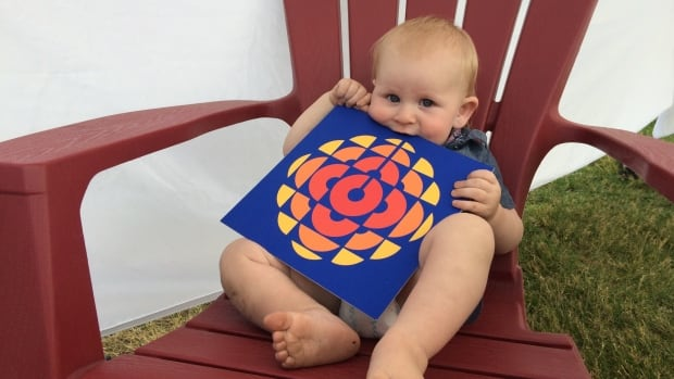 Max, 14-months-old, came out to visit CBC at the Folk Festival Saturday.