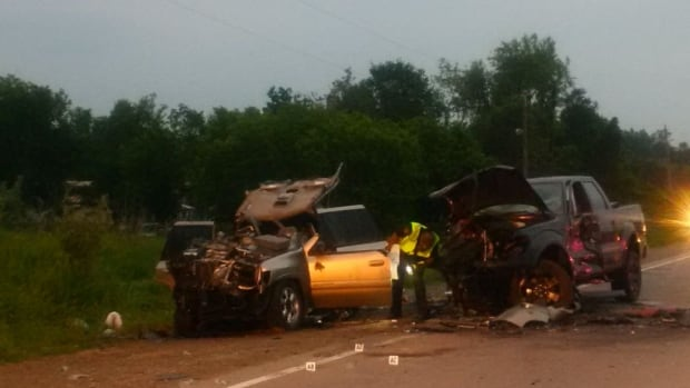 A GM SUV and Ford pick-up truck crashed head on in a collision on Highway 9 Saturday evening.