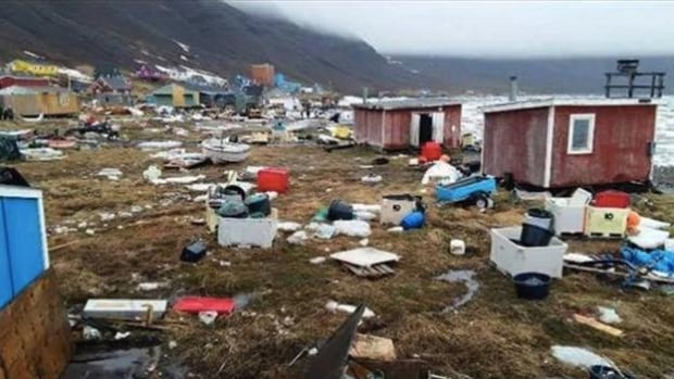 A still from a video shot on the shoreline of Nuugaatsiaq after tsunami waves struck the coast of Greenland on Saturday. Police say the waves were caused by a large rock falling into the sea.