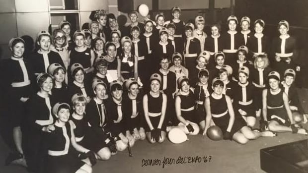 A photo from Quebec pavilion hostess Paule-Andrée Morency's personal collection, of her and her colleagues on the last day of Expo 67. She and at least 21 of her colleagues are having a reunion Tuesday.
