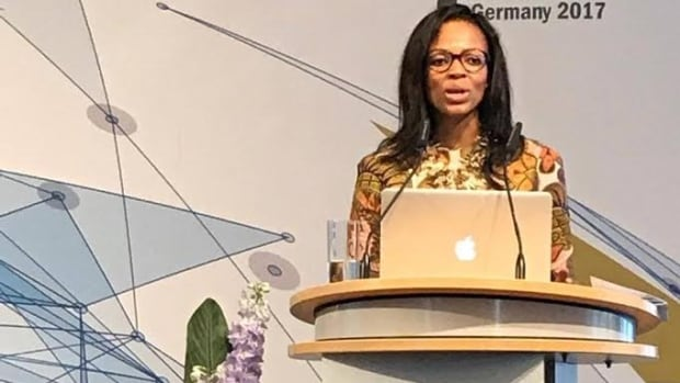Matsi Modise, managing director of startuip support group Simodisa, speaks at the G20 summit.