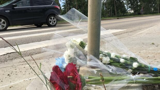 A vehicle drives through the intersection past the memorial at Suder Greens Drive and 88th Avenue for a female pedestrian who was struck and killed Saturday night.