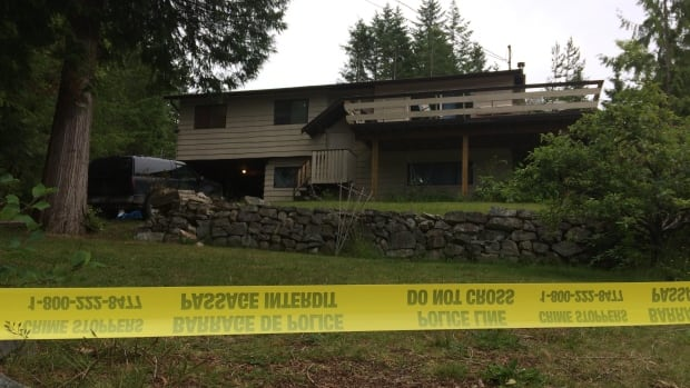 The residence on Scotch Place in Lund, B.C., where police found two people deceased and another injured after officers received reports of a shooting in the early morning of Saturday June 17, 2017.
