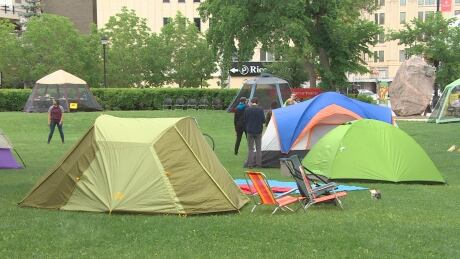 Dozens of University of Winnipeg students organize a community camp-out