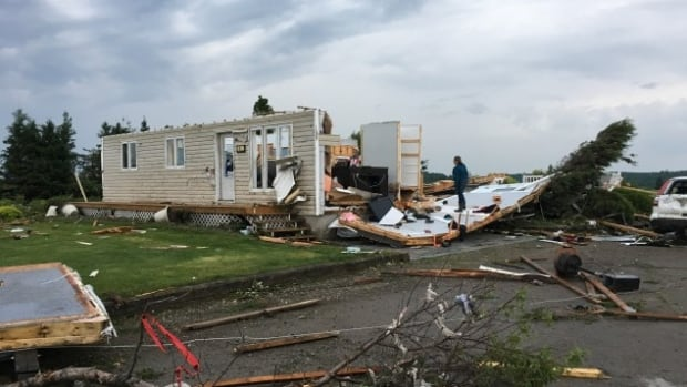 A residence in Hébertville, Que. was destroyed by strong winds Sunday.
