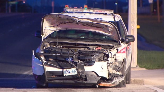 The front end of a York Regional Police cruiser, a Ford Explorer, was damaged early Monday in a crash in Richmond Hill. A female officer suffered minor injuries in the collision at Major MacKenzie Drive West and Bathurst Street. The other driver was not injured.