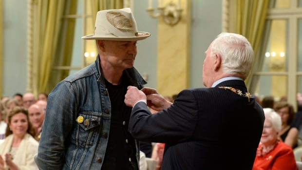 Gord Downie receives the Order of Canada from Governor General David Johnston in Ottawa. Downie, who announced last year that he was diagnosed with terminal brain cancer, has become a strong advocate for Indigenous people and issues.