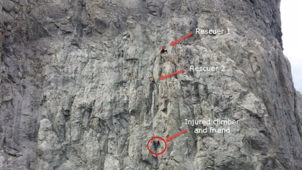 Kananaskis Country Public Safety Section posted this photo of the rescue of the injured climber.