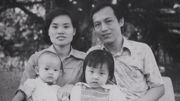Rebecca Trinh, top left, Sam, top right, are shown with Helen, bottom left, and Judy  in 1978, three months before the family escaped Vietnam.