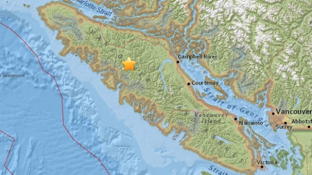 An earthquake with a magnitude of 4.6 struck an area approximately 79 kilometres west of Campbell River, B.C. on June 19, 2017.