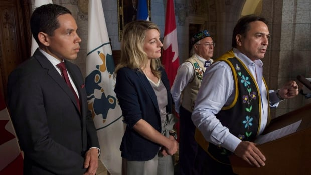 A partnership was announced on June 15 to develop nationwide language legislation. From left, Natan Obed, president of Inuit Tapiriit Kanatami, Minister of Canadian Heritage Mélanie Joly, Clément Chartier, president of the Métis National Council and Assembly of First Nations National Chief Perry Bellegarde.
