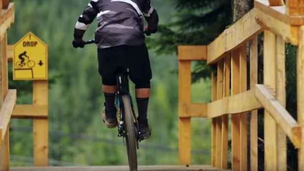 "Whistler's A-Line mountain bike trail, which is considered one of the best jump runs in the world, has a ""filter entrance"" with a steep drop in order to ward off inexperienced riders."
