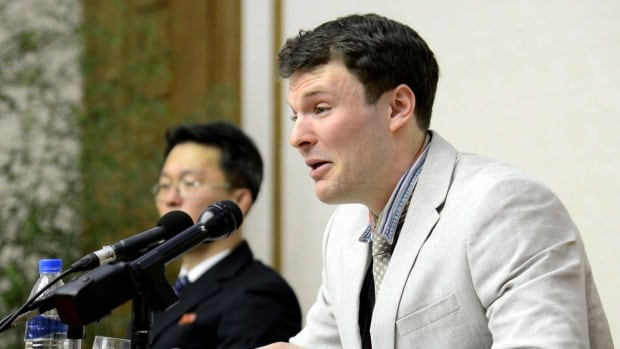 In this Feb. 29, 2016, photo, American student Otto Warmbier cries while speaking to reporters in Pyongyang, North Korea. Warmbier died days after he was returned in a coma to the United States.