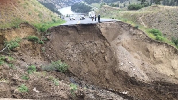 The wash-out along Highway 20 is at least 150 metres wide.
