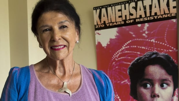 Filmmaker Alanis Obomsawin in her office at the National Film Board of Canada in Montreal in 2015. She's currently editing her 51st feature-length project.