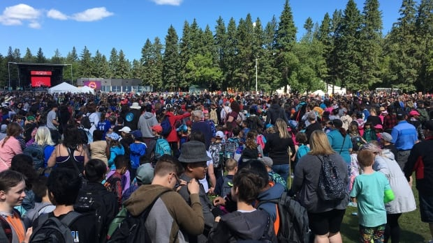 A crowd in the thousands, many of them school children, gathered at Victoria Park in Edmonton's river valley in celebration of National Aboriginal Day.