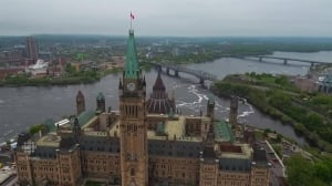 Aerial drone footage of Parliament Hill buildings