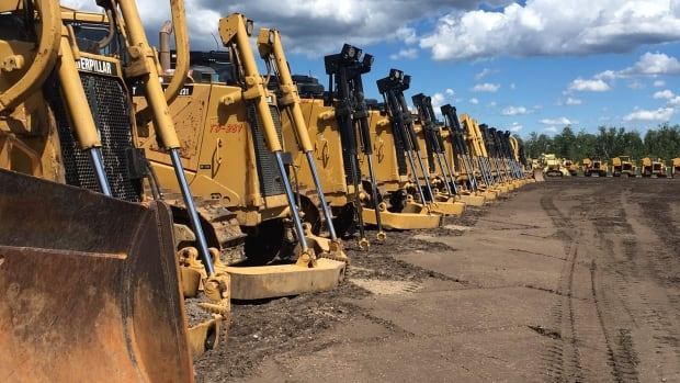 Heavy equipment is assembled in Hardisty to construct Enbridge's Line 3 replacement pipeline.