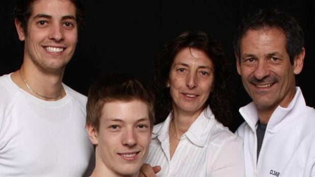 Thierry Leroux, second from left, the Lac-Simon police officer who was killed during an intervention in 2016, is seen here with his father Michel, mother Christine and brother Steffan.