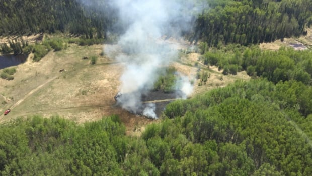 An Alberta Wildfire photo shows the wildfire that resulted from the exploding target.