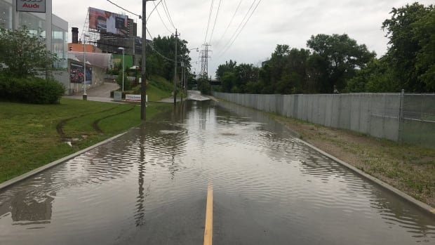 A portion of Bayview Avenue is closed Friday morning due to flooding.