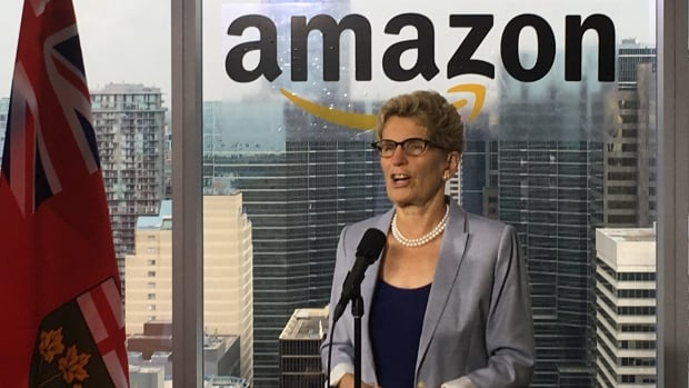 Ontario Premier Kathleen Wynne at a news conference at Amazon's Canadian headquarters in downtown Toronto.
